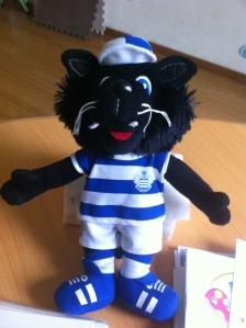 QPR mascot Jude the cat.