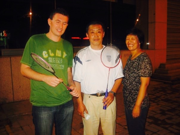 Badminton with local couple Jinan Shandong province China