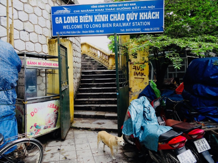 Entrance to Long Bien Railway Station Hanoi