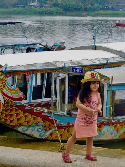 little girl Perfume River Hue Vietnam