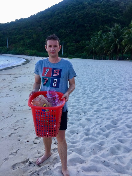 Bai Ong Beach cleaning Cham Island Vietnam