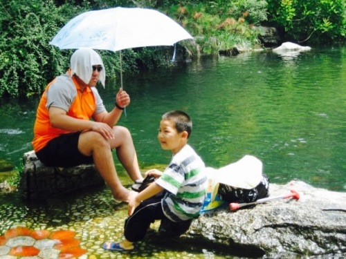 Father and son Baotu Spring Park Jinan Shandong province China
