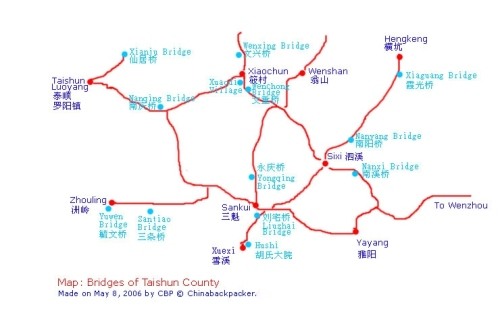 Map Taishun County, China