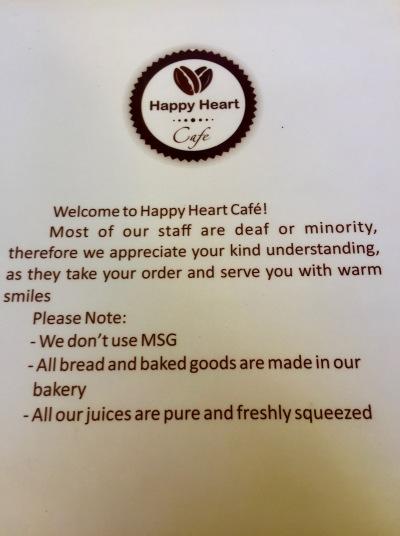 Menu page The Happy Heart Cafe Danang Vietnam
