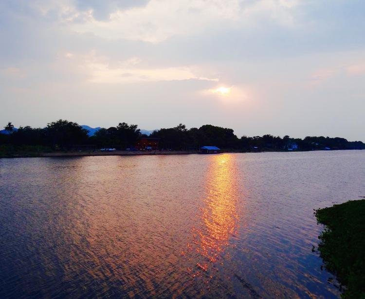 Sunset River Kwai Kanchanaburi Thailand