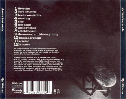 Back cover Lost Souls Doves album review