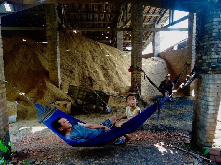 Rice husks Nhon Thanh Brickmaking Village Mekong Delta