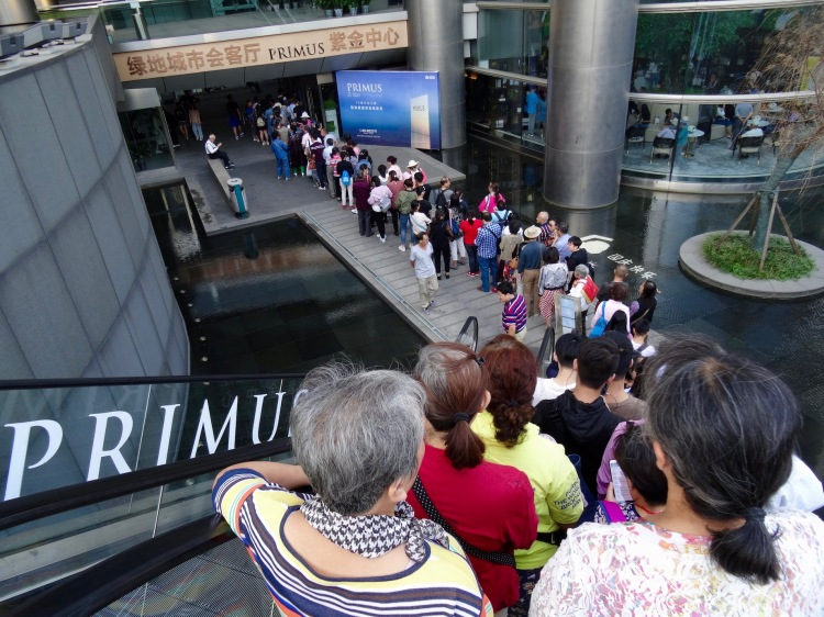 Queuing up for Zifeng Tower Nanjing China
