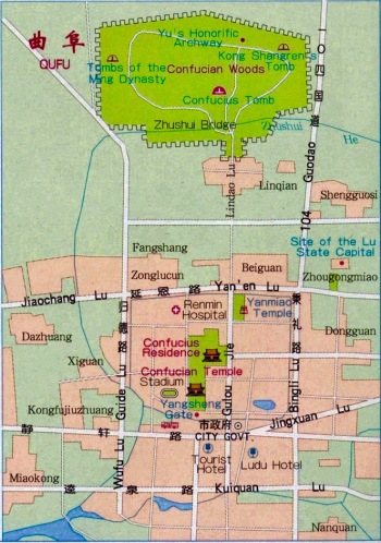 Qufu City Map Shandong province China