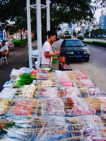 Street food market Yantai Shandong Province China