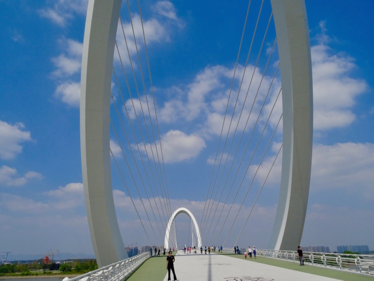 The Nanjing Eye pedestrian bridge Nanjing Olympic Park China