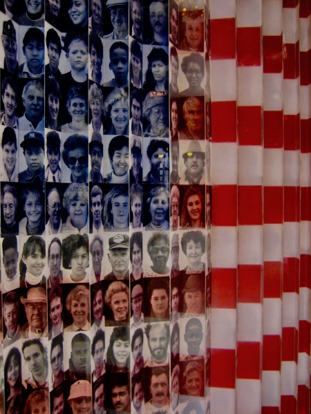 American Flag of Faces Ellis Island Immigration Museum NYC May 2007