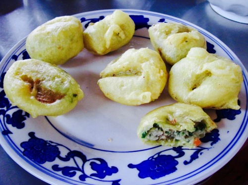 Deep fried stuffed eggplant with pork Cloud 9 Restaurant and Cooking School Yangshuo