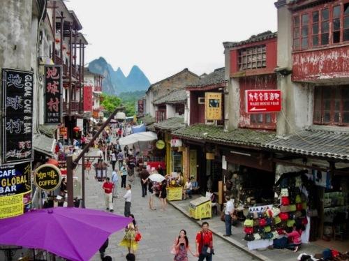 Main street Yangshuo Town Guangxi China