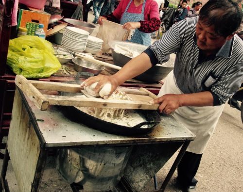 Noodle Soup Vendor Food Market Shuanglin Temple Pingyao Shanxi Province China