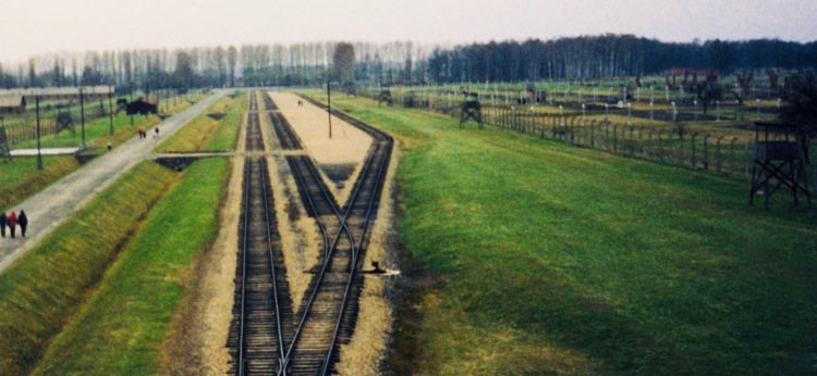 Railway tracks Auschwitz Birkenau memorial and museum Oswiecim Poland