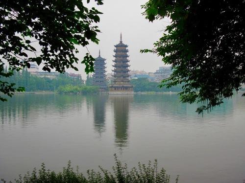 Sun and moon Pagodas Shan Lake Guilin Guangxi China