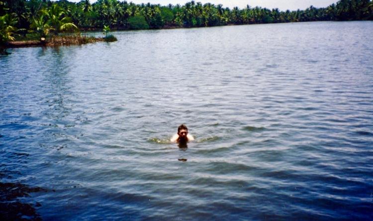 Swimming in the Kerala Backwaters India