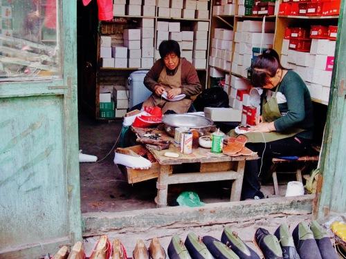 Traditional shoemakers Pingyao China
