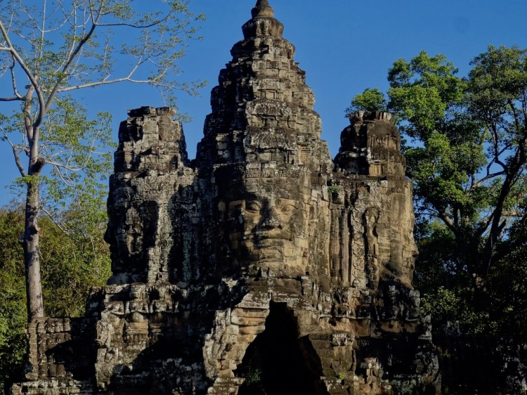 Carved faces Bayon Temple Angkor Siem Reap Cambodia