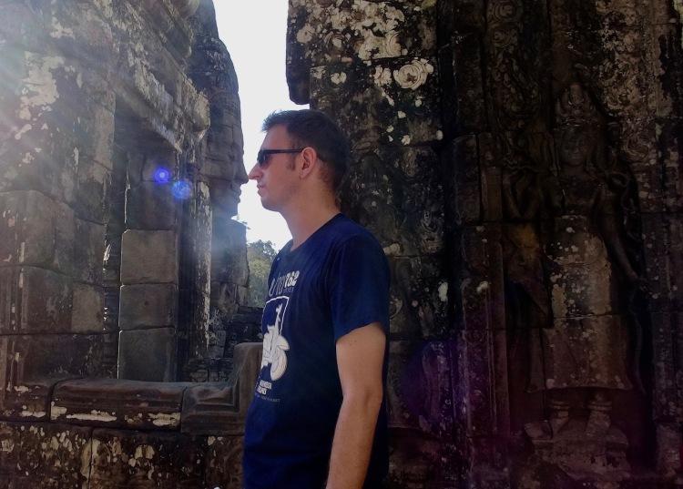 Nose to nose Bayon Temple Angkor Siem Reap Cambodia