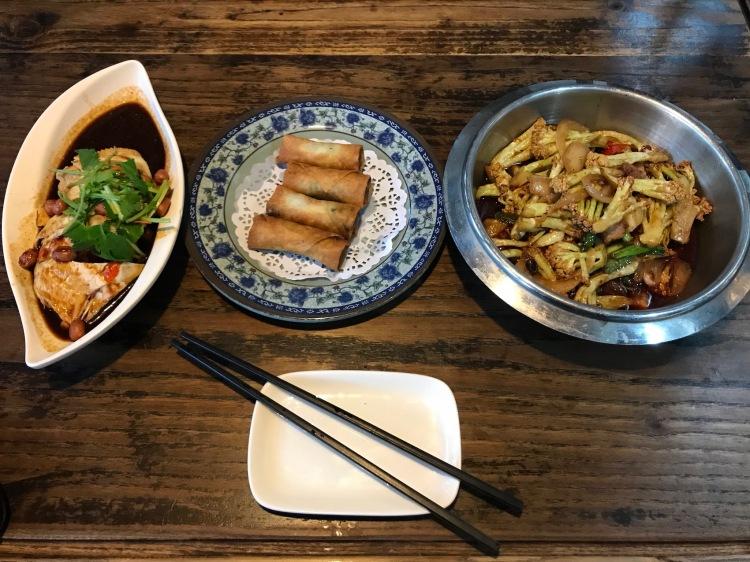 Saliva chicken, pan fried cauliflower, vegetable spring rolls, Pin Von Restaurant and Teahouse Suzhou China