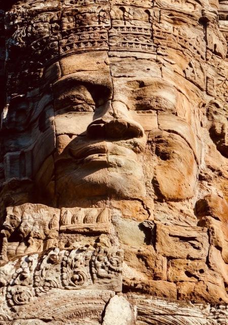 Stone face Bayon Temple Angkor Siem Reap Cambodia