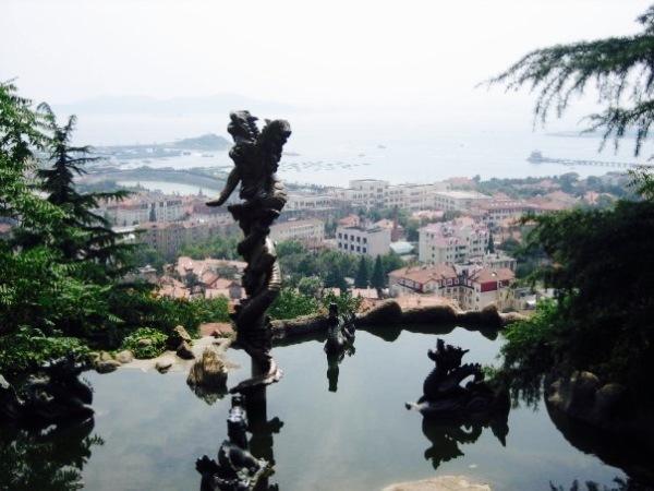 Views over Qingdao from Xinhao Shan Park Shandong Province China
