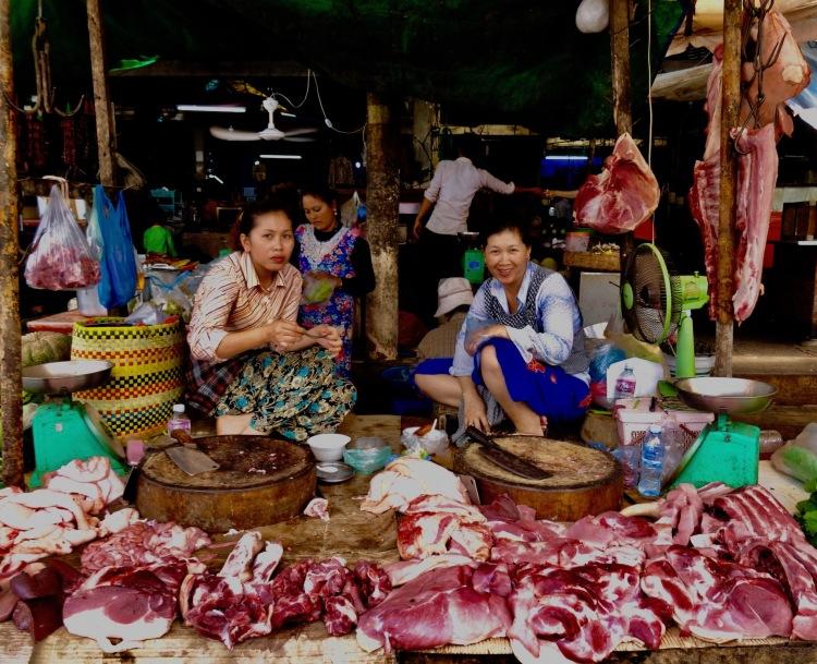 Butcher's stall Psar Leu Market Siem Reap Cambodia
