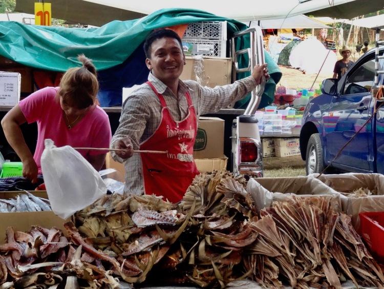 Dried fish Sangkhlaburi Town Market Thailand
