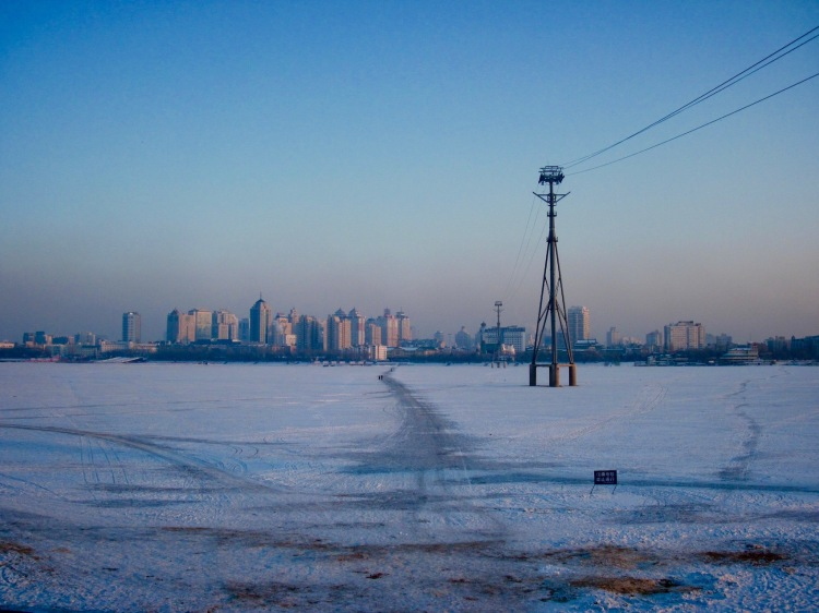 Frozen Songhua River Harbin Heilongjiang province China
