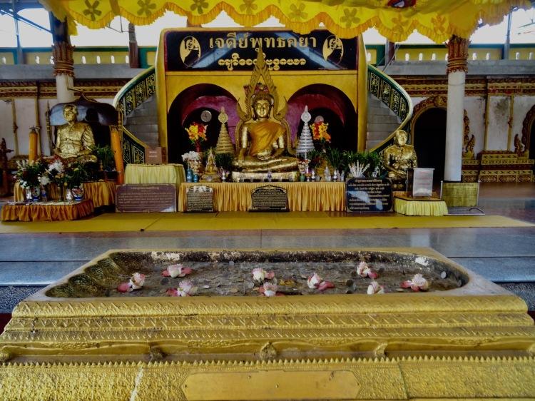 Inside Buddhakaya Chedi Mon village Sangkhlaburi Thailand