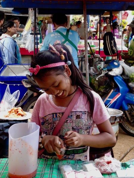 Local girl Sangkhlaburi Town Market Thailand