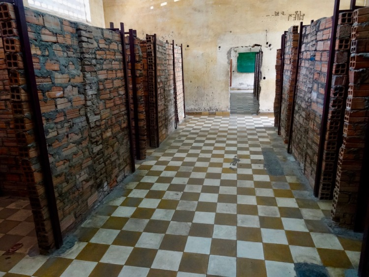 Prison cell block Tuol Sleng Genocide Museum Phom Penh Cambodia