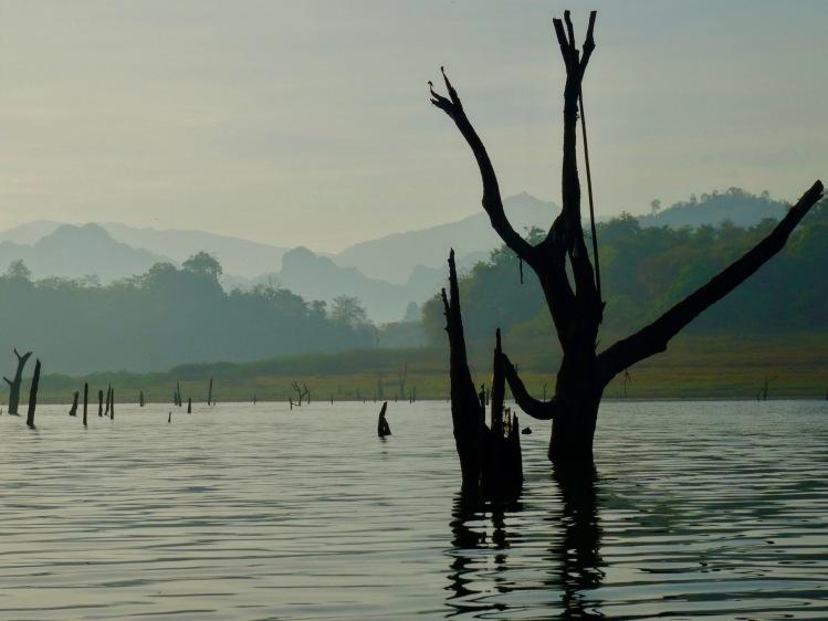 Sunrise cruise Khao Laem Reservoir Sangkhlaburi Thailand