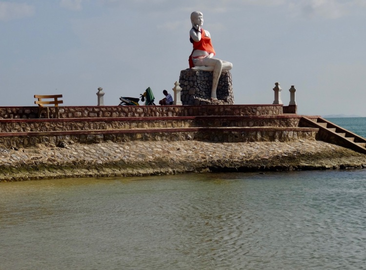 Fisherman's wife statue Kep Beach Cambodia