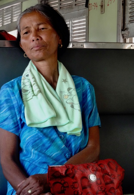 Old Thai woman train from Bangkok to Ayuthaya