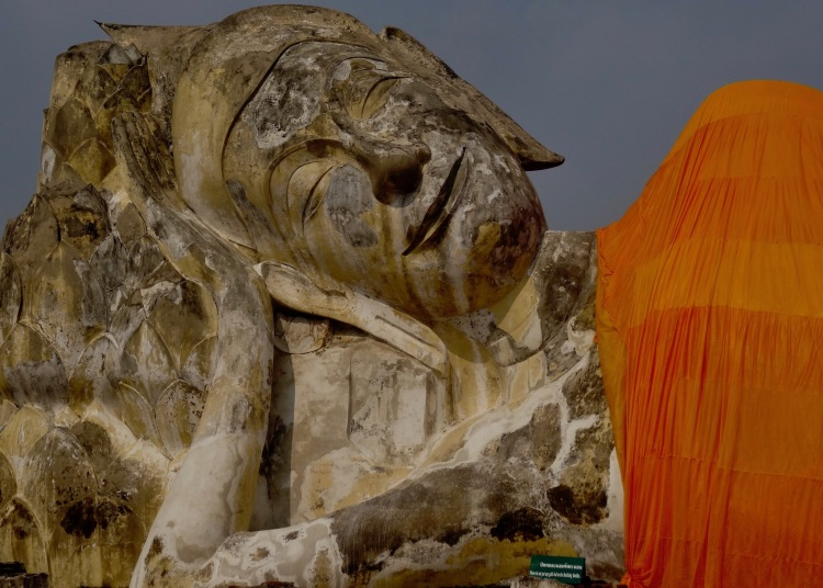 Reclining buddha Wat Lokayasutharam Ayuthaya Historical Park Thailand