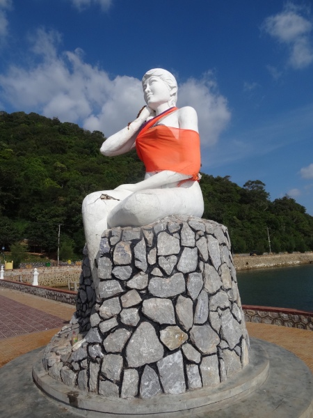 Sela Cham P'dey Statue Fisherman's wife Kep Beach Cambodia