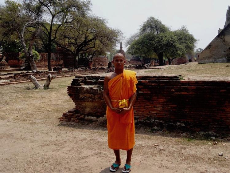 Thai monk Wat Phra Si Sanphet Ayuthaya Historical Park