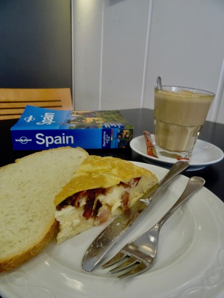 Tortilla and coffee Baden Baden Cafe Bilbao Spain