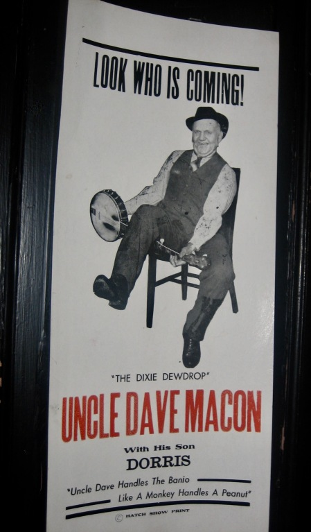 Uncle Dave Macon poster Hatch Show Print Nashville Tennessee