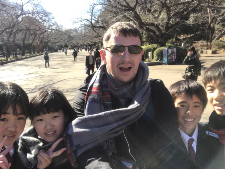 With Japanese school kids Ueno Park Tokyo