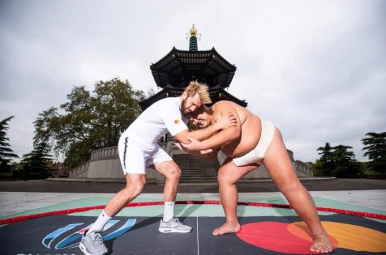 Chris Robshaw with Japanese Sumo wrestler Battersea Park England