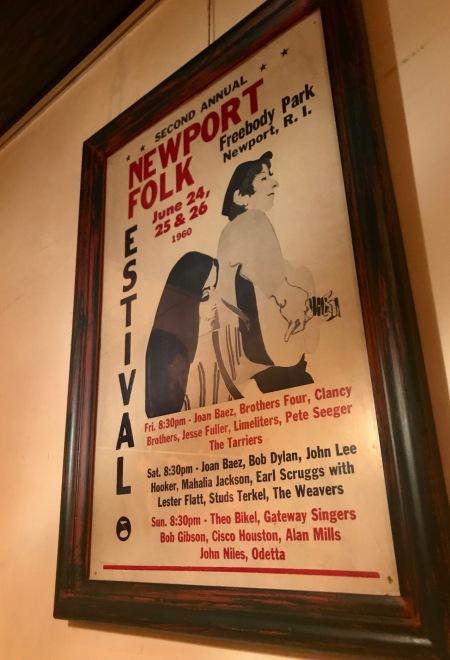 Rare Newport Folk Festival Poster Polka Dots Bob Dylan Bar Tokyo
