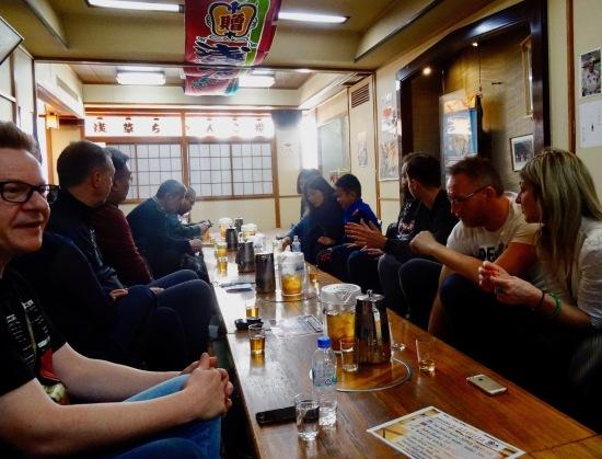 Waiting for the Sumo performance Asakusa restaurant Tokyo