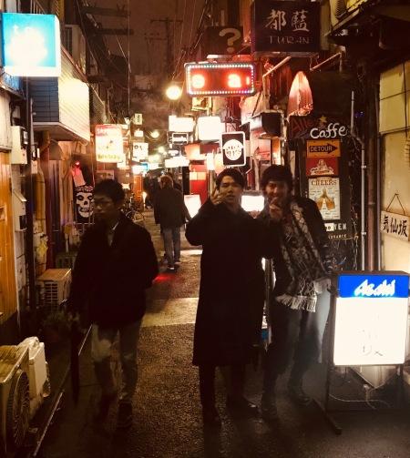 A night out at Golden Gai Bar District Tokyo.