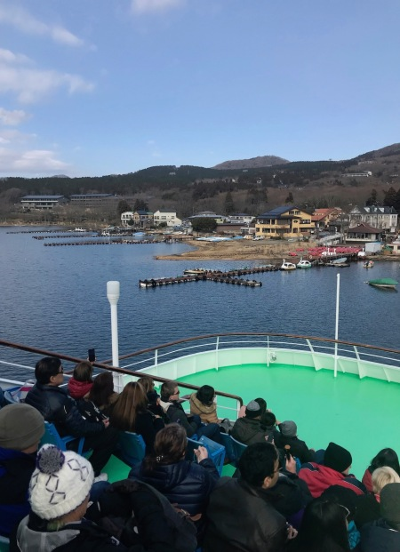 Boat cruise Lake Ashi Japan.