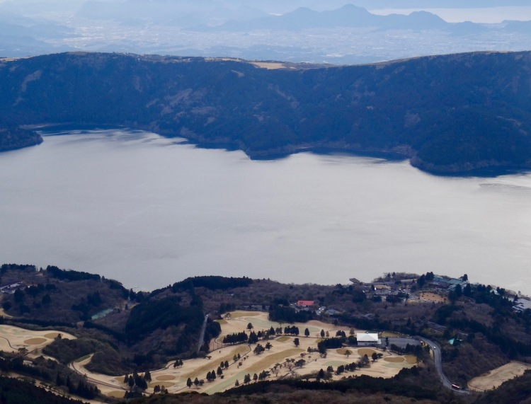 Lake Ashi and beyond from the top of Mount Hakone.