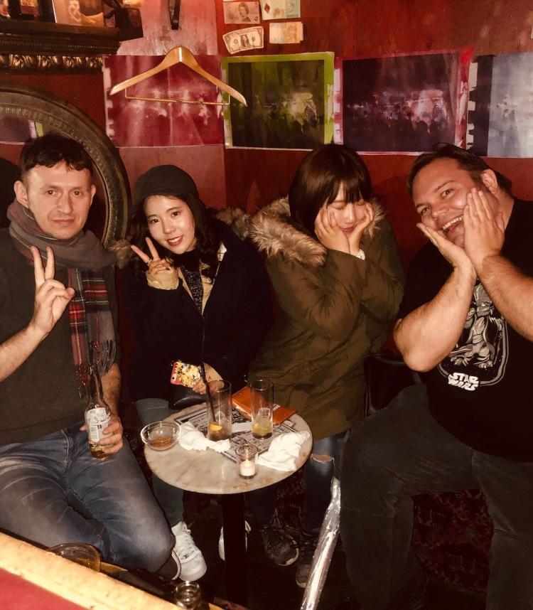 Making friends at Albatross Bar Golden Gai Tokyo.